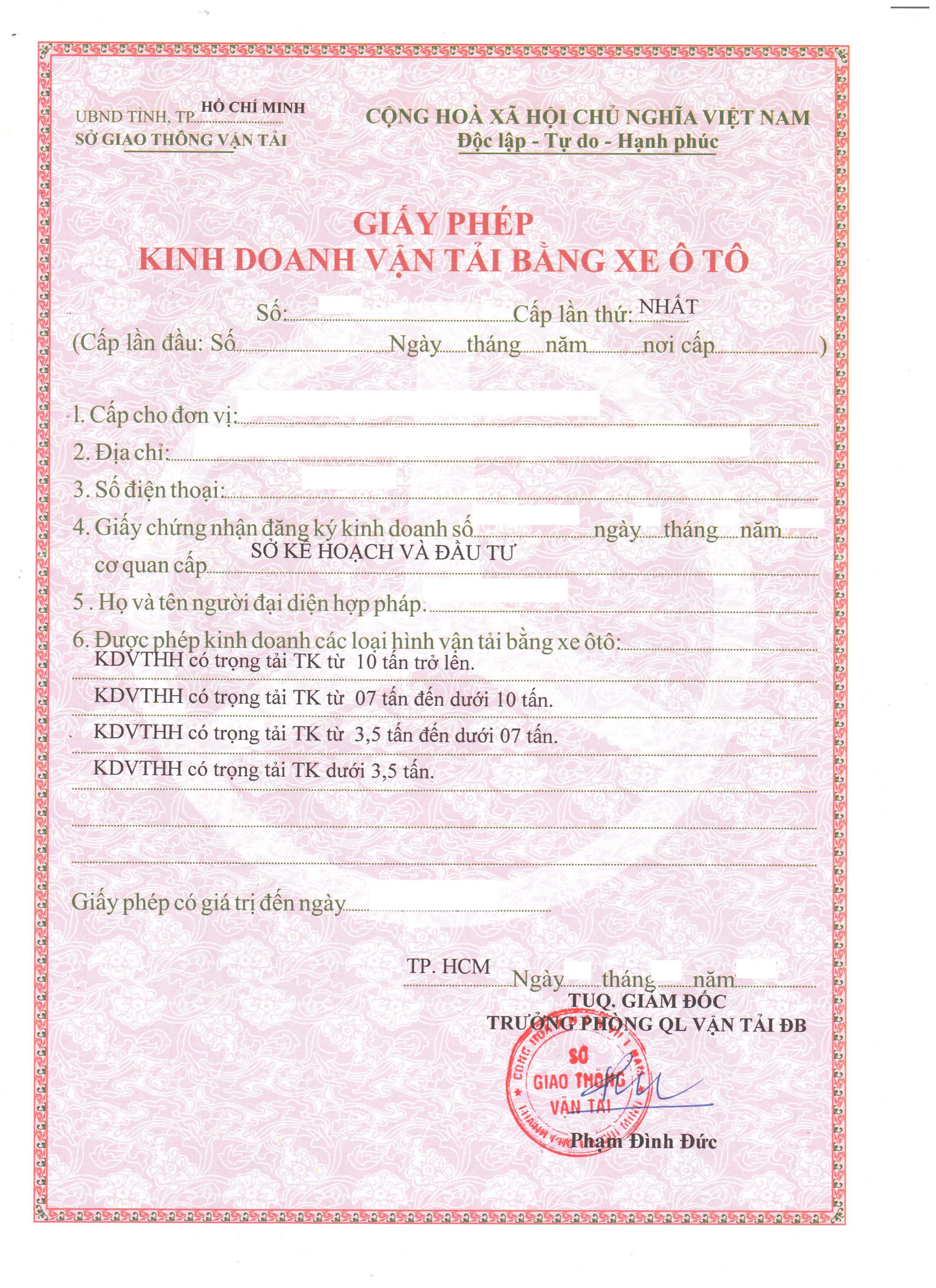 Thủ tục cấp giấy phép vận tải