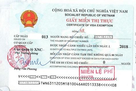 Thủ tục xin cấp giấy miễn thị thực tại Việt Nam